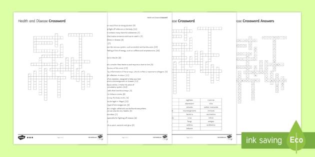 Health and Disease Crossword - Crossword, health, disease, drug, drugs, microbes, microorganisms, virus, bacteria, fungi, alcohol,