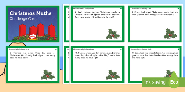 Christmas Differentiated Maths Challenge Cards