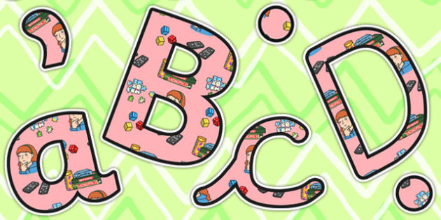 Puzzle Area Themed Display Lettering - puzzle, areas, letters