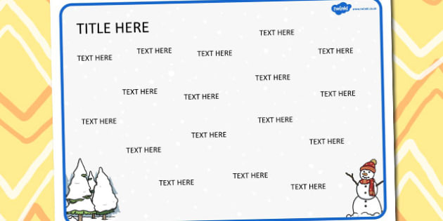 Winter Themed Editable Word Mat - literacy, visual aids, write