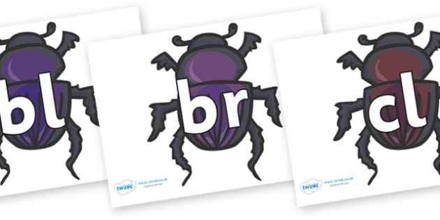 Initial Letter Blends on Egyptian Beetles (Scarab) - Initial Letters, initial letter, letter blend, letter blends, consonant, consonants, digraph, trigraph, literacy, alphabet, letters, foundation stage literacy