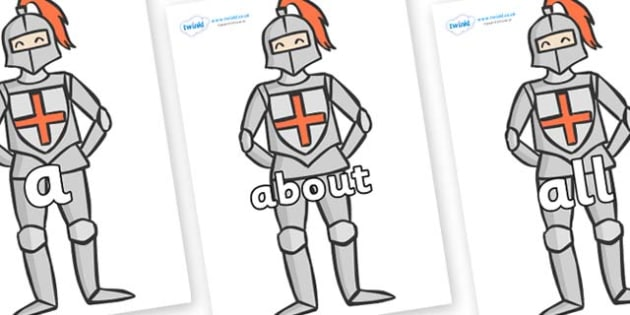 100 High Frequency Words on Knights - High frequency words, hfw, DfES Letters and Sounds, Letters and Sounds, display words