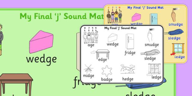 Final 'J' Sound Word Mat 2 - j sound, final, word mat, mat, word