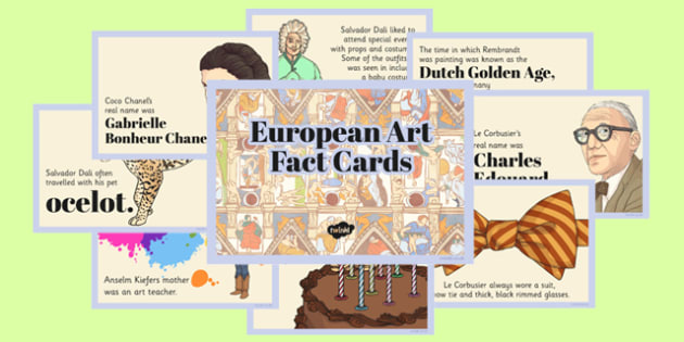 European Art Fact Cards - european art, fact cards, fact, cards, europe