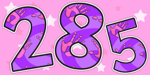 Pink and Purple Handprint Themed A4 Display Numbers - handprint