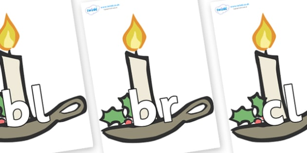 Initial Letter Blends on Christmas Candles - Initial Letters, initial letter, letter blend, letter blends, consonant, consonants, digraph, trigraph, literacy, alphabet, letters, foundation stage literacy