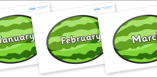 Months of the Year on Melons (Horizontal) - Months of the Year, Months poster, Months display, display, poster, frieze, Months, month, January, February, March, April, May, June, July, August, September