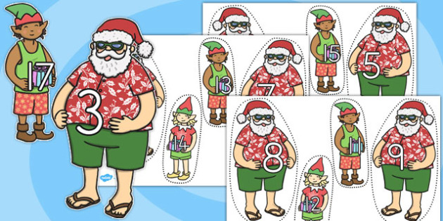Number Bonds to 20 Matching Activity Santa and Elves - australia