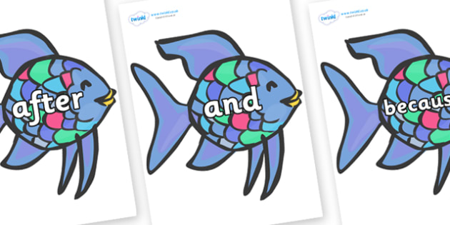 Connectives on Rainbow Fish to Support Teaching on The Rainbow Fish - Connectives, VCOP, connective resources, connectives display words, connective displays