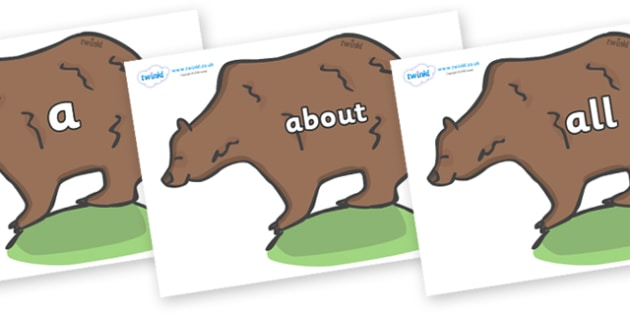 100 High Frequency Words on Bears - High frequency words, hfw, DfES Letters and Sounds, Letters and Sounds, display words