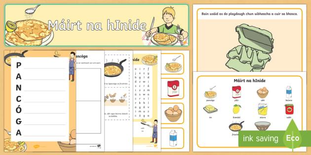 Máirt na hInide Resource Pack - Pancake Tuesday, Máirt na hInide, pancóga, pancakes, playdough mats, frying pan,Irish.