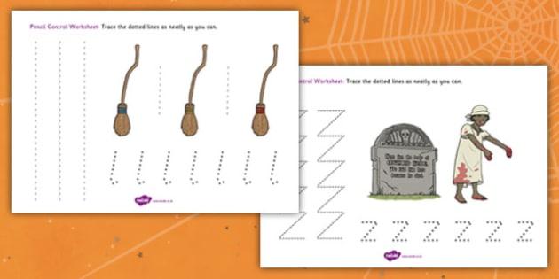 Halloween Pencil Control Worksheet - halloween, pencil control, pencil control worksheets, fine motor skills, fine motor worksheets, halloween worksheets