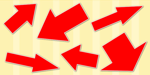Red Directional Arrows Cut Outs - red directional arrows, cut outs, directional arrows, directional arrows cut outs, directional arrows worksheet