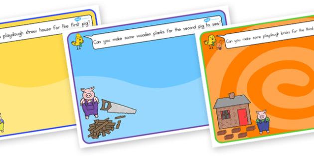The Three Little Pigs Playdough Mat - australia, playdough, mat