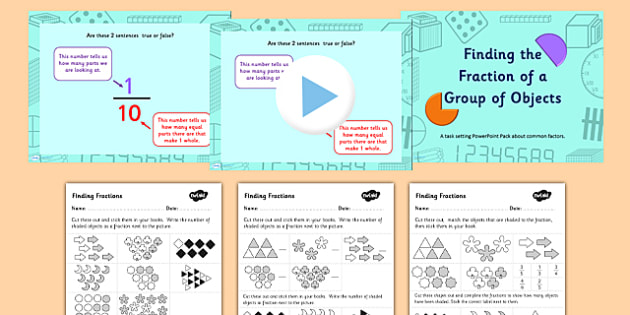 Year 3 Finding the Fraction of Objects Powerpoint Task Setter