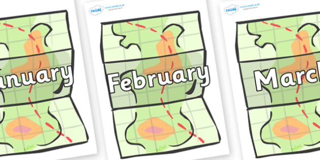 Months of the Year on Maps - Months of the Year, Months poster, Months display, display, poster, frieze, Months, month, January, February, March, April, May, June, July, August, September