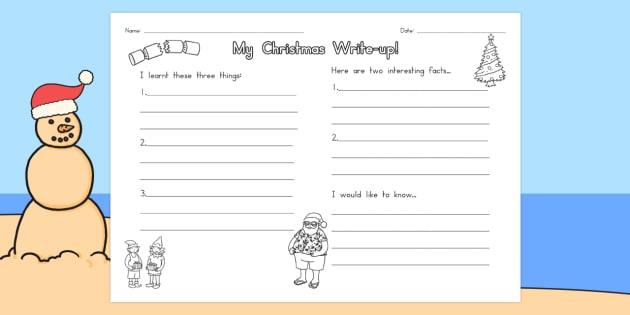 Christmas Write Up Worksheet - australia, christmas, write up