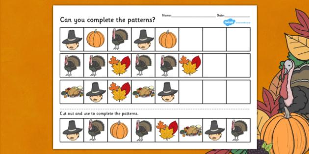 Thanksgiving Complete the Pattern Worksheet - Thanksgiving