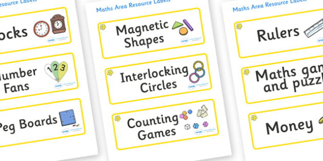 Buttercup Themed Editable Maths Area Resource Labels - Themed maths resource labels, maths area resources, Label template, Resource Label, Name Labels, Editable Labels, Drawer Labels, KS1 Labels, Foundation Labels, Foundation Stage Labels, Teaching L