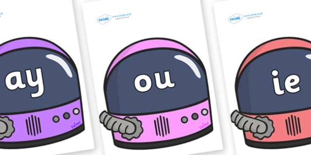 Phase 5 Phonemes on Astronaut Helmet - Phonemes, phoneme, Phase 5, Phase five, Foundation, Literacy, Letters and Sounds, DfES, display