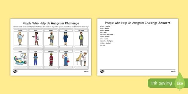 People Who Help Us Anagram Challenge Activity Sheet, worksheet