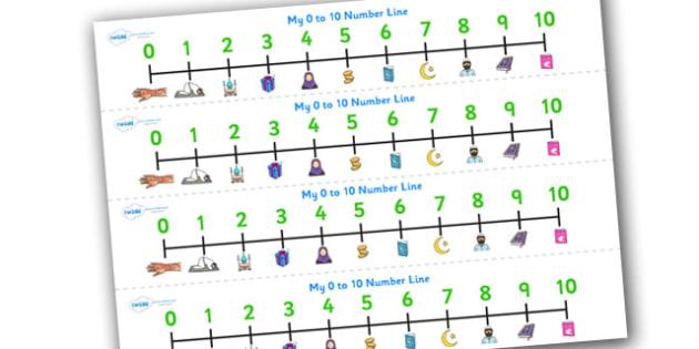 Eid Number Line 0 10-eid, number, eid numbers, number line, 0-10, maths, islam, islam number line, counting, counting aid, religion