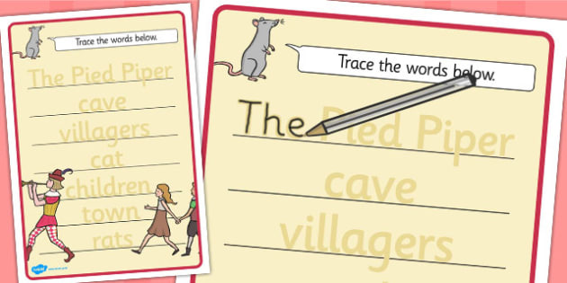 The Pied Piper Trace the Words Worksheets - trace, words, sheets