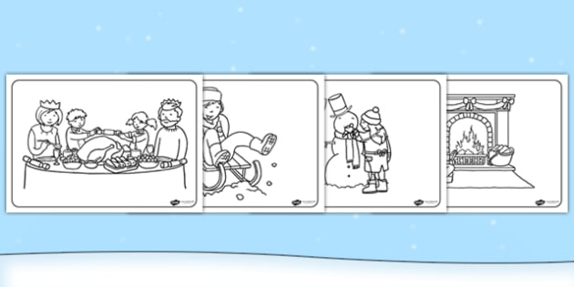 Winter Activities Colouring Pages - winter, colouring pages