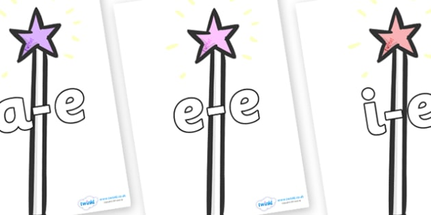 Modifying E Letters on Wands - Modifying E, letters, modify, Phase 5, Phase five, alternative spellings for phonemes, DfES letters and Sounds