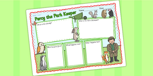 Book Review Writing Frame to Support Teaching on Percy The Park Keeper - percy the park keeper, book review, writing frame, book review writing frame, writing, writing template
