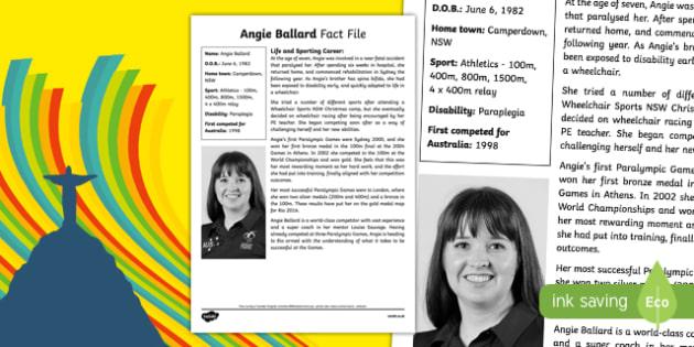 Paralympian Angie Ballard Fact File-Australia