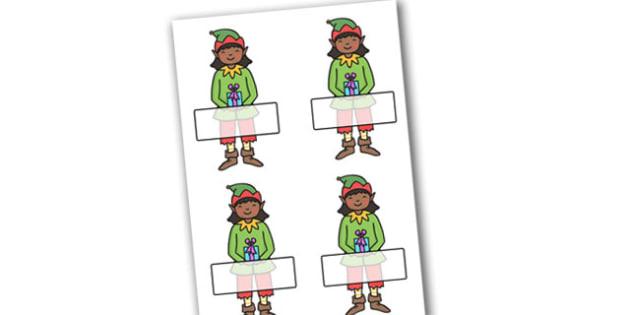 Christmas Editable Self Registration Girl Elf - christmas, xmas, self registration, self-registration, editable, editable labels, editable self registration labels, labels, registration, child name label, girl elf, elf, name label, register