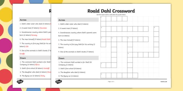 Roald Dahl Crossword