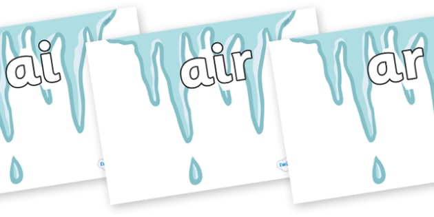 Phase 3 Phonemes on Icicles - Phonemes, phoneme, Phase 3, Phase three, Foundation, Literacy, Letters and Sounds, DfES, display