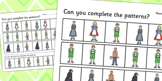 Hansel and Gretel Complete the pattern worksheets - pattern