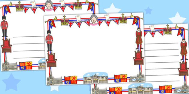 Royal Family Page Borders (Landscape) - page border, border, frame, writing frame, royal family, royals, royal family borders, royal family landscape borders, writing template, writing aid, writing, A4 page, page edge, writing activities, lined page,