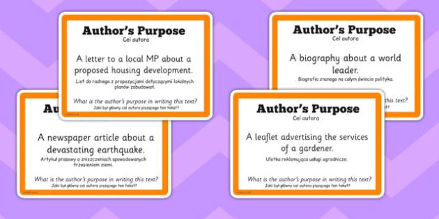 Guided Reading Skills Task Cards Author's Purpose Polish Translation - english, literacy, group work, infer, understand, listen, speak, challenge, activity,