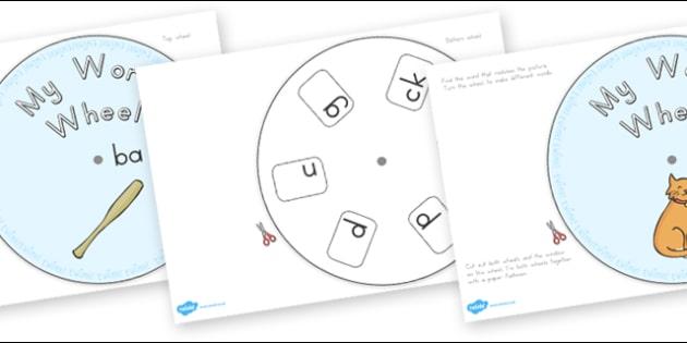 CVC Word Wheels Final Sounds - australia, cvc, word wheels, final