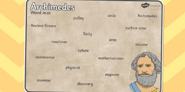 Archimedes Word Mat - archimedes, word mat, word, mat, words