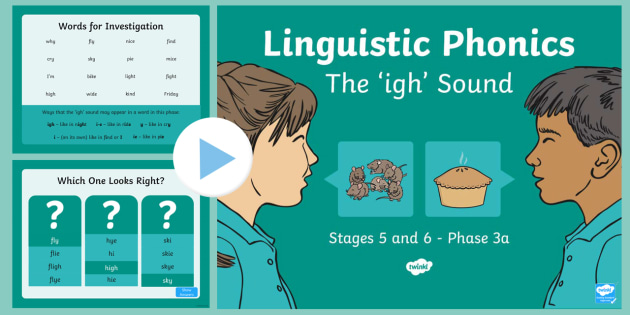 Northern Ireland Linguistic Phonics Stage 5 and 6 Phase 3a, 'igh' Sound PowerPoint