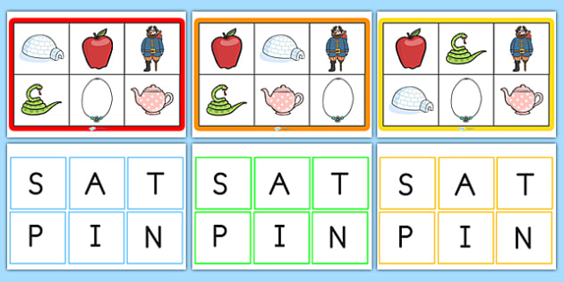 Phonics Bingo Picture Matching Game Set 1 Phonics Bingo