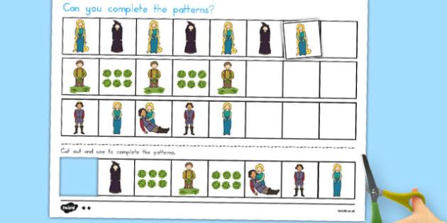 Rapunzel Complete the Pattern Worksheets - australia, rapunzel