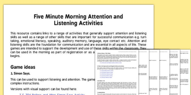 Five Minute Morning Attention and Listening Activities - games, turn taking, social communication, working in a group, friendship, autism