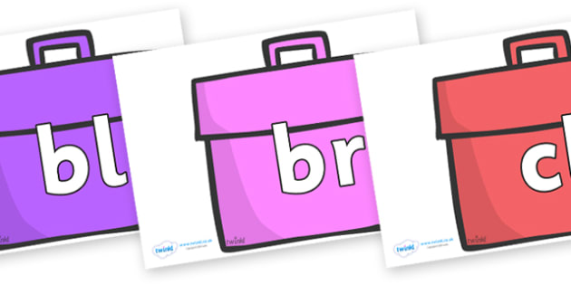 Initial Letter Blends on Book Bags - Initial Letters, initial letter, letter blend, letter blends, consonant, consonants, digraph, trigraph, literacy, alphabet, letters, foundation stage literacy