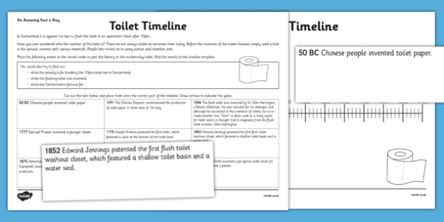 Toilet Timeline Activity Sheet - challenge, research, home, education, learning, clean, plumbing, flush, history, change, hygeine, timeline, chornological understanding, toilet history, worksheet