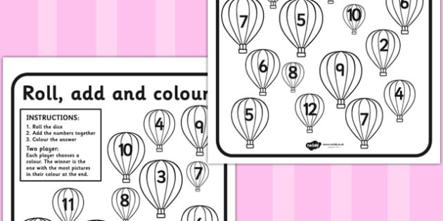 Hot Air Balloon Roll and Colour Dice Addition Activity - addition