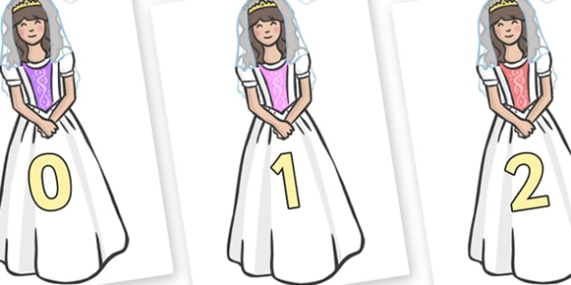 Numbers 0-31 on Princesses - 0-31, foundation stage numeracy, Number recognition, Number flashcards, counting, number frieze, Display numbers, number posters