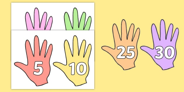 Counting in 5s Numbers on Hands - counting aid, count, numeracy