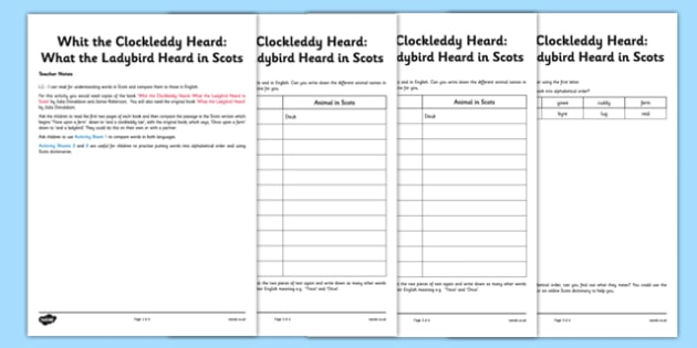 Whit the Clockleddy Heard Activity Sheet Pack - CfE, Literacy, Languages, Scots, Whit the Clockleddy Heard, What the Ladybird Heard, alphabetical order,julia donaldson, worksheet