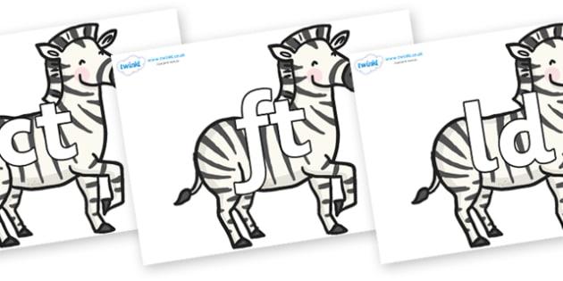 Final Letter Blends on Zebras - Final Letters, final letter, letter blend, letter blends, consonant, consonants, digraph, trigraph, literacy, alphabet, letters, foundation stage literacy
